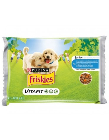 Friskies Dog Junior Kurczak i marchewka w sosie saszetki 4x100g