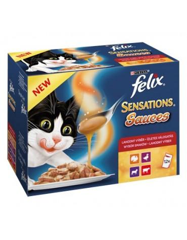 Felix Sensations Sauces Wiejskie smaki (indyk/jagnięcina/kaczka/wołowina) saszetki 12x100g