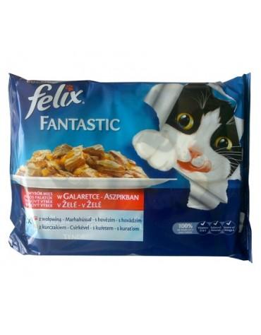 Felix Fantastic Wybór Mięs (wołowina+kurczak) w galaretce saszetka 4x100g