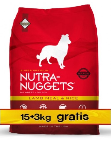 Nutra Nuggets Lamb & Rice Dog PROMOCJA 18kg (15kg+3kg)