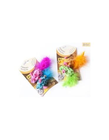 Dingo Zabawka dla kota - Kolorowe myszki 2szt różowa i niebieska