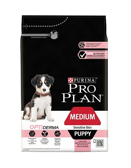 Purina Pro Plan Puppy Medium OptiDerma Sensitive Skin Łosoś 3kg