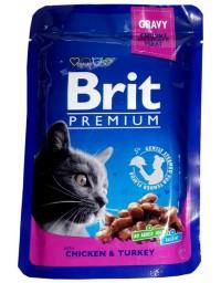 Brit Premium Cat Adult Kurczak + Indyk saszetka 100g