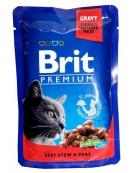 Brit Premium Cat Adult Wołowina + Groszek saszetka 100g