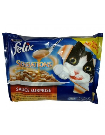 Felix Sensations Sauce Surprise Indyk / Jagnięcina w sosie saszetki 4x100g