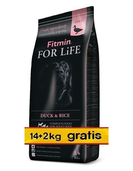 Fitmin Dog For Life Duck & Rice 16kg (14+2kg gratis)