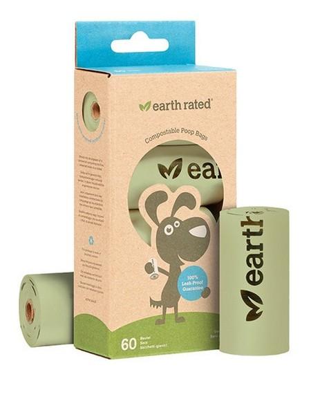 Woreczki Earth Rated ECO 4 x 15szt woreczków kompostowalnych - do zbierania odchodów