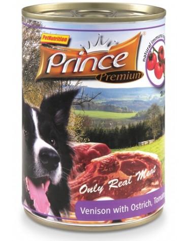 Prince Premium Dog Jeleń, struś, pomidory puszka 400g