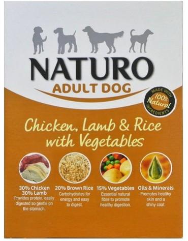 Naturo Adult Kurczak, jagnię z ryżem i warzywami 400g