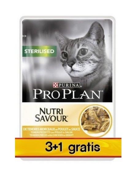 Purina Pro Plan Cat Sterilised kurczak saszetka 4x85g 3+1 gratis