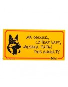 """Dingo Tabliczka ostrzegawcza """"Ma ogonek, cztery łapy, mieszka tutaj pies kudłaty"""""""