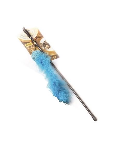Dingo Wędka dla kota - piłka z ogonkiem niebieska