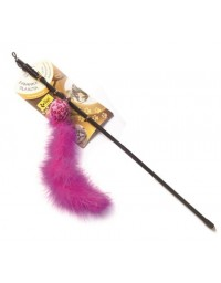 Dingo Wędka dla kota - piłka z ogonkiem różowa