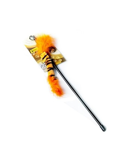 Dingo Wędka dla kota - ogonek z piórkami pomarańczowy