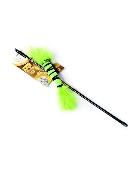 Dingo Wędka dla kota - ogonek z piórkami zielony