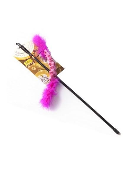 Dingo Wędka dla kota - ogonek z piórkami różowy