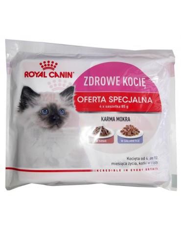 Royal Canin Kitten Instinctive karma mokra dla kociąt do 12 miesiąca życia Multipack sos+galaretka saszetki 4x85g