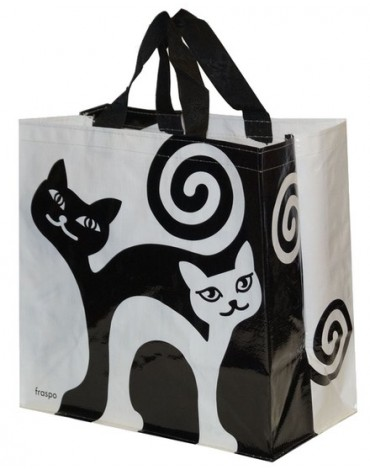 Torba Animals 24L zakręcone koty - biało-czarna