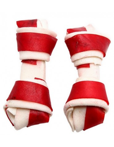 Adbi Kości wiązane biało-czerwone - wołowina 10cm 10szt [AK 27]