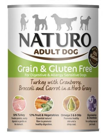 Naturo Adult Indyk, żurawina, brokuły i marchew w sosie puszka 390g