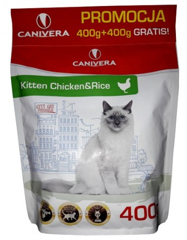 Canivera Kot Kitten Chicken & Rice 400+400g gratis