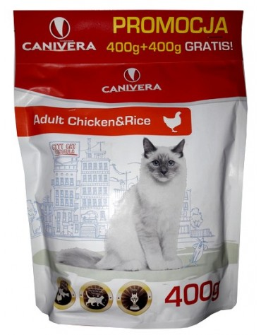 Canivera Kot Adult Chicken & Rice 400+400g gratis
