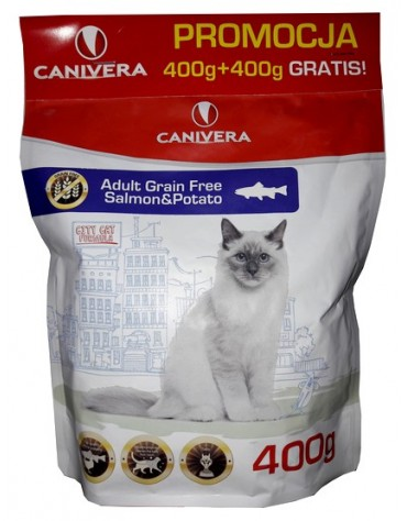 Canivera Kot Adult Grain Free Salmon & Potato 400+400g gratis