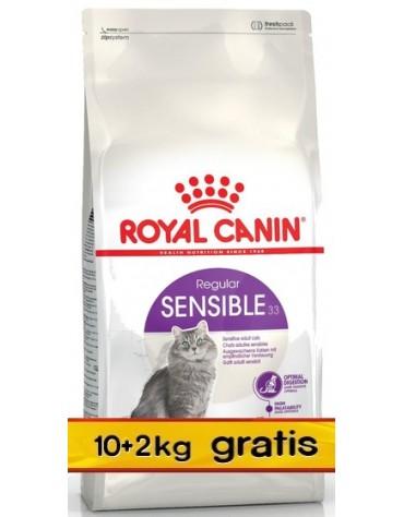 Royal Canin Sensible karma sucha dla kotów dorosłych, o wrażliwym przewodzie pokarmowym 12kg (10+2kg)