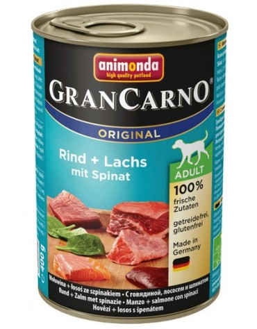 Animonda GranCarno Adult Rind Lachs Spinat Wołowina, Łosoś + Szpinak puszka 400g