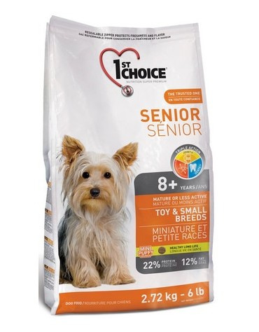 1st Choice Senior Dog Mature or Less Active Toy & Small Breeds 2,72kg